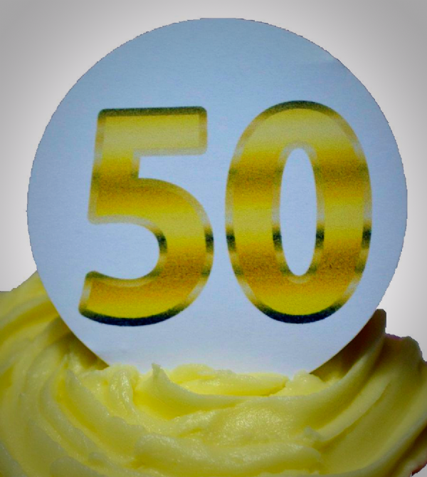 Edible cake toppers decoration - Gold 50
